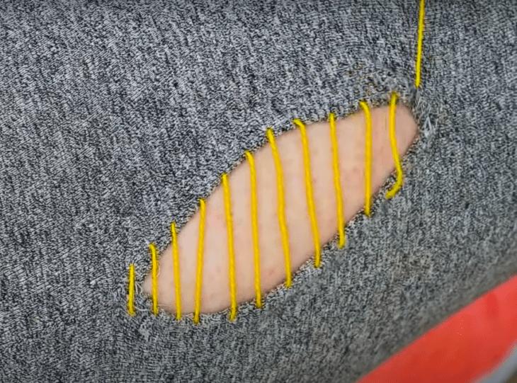 Как зашить дыру на одежде